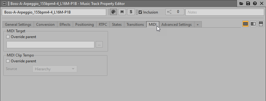 Assigning a Target to a MIDI Music Track